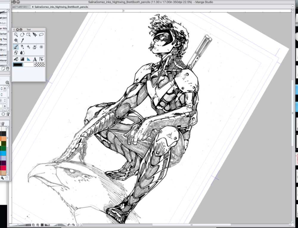 Digitally inking a Brett Booth pencil of Nightwing. This is how I get my practice inking. I search for really beautiful pencils online - and particularly challenging ones, because otherwise, what's the point - and I go at it. And the days just melt on by, and time stops.   When you do what you love, you can work 12 hours a day on it. And it's not even work, folks.   Possible secret ingredients to a great life:   1.) Finding your special thing that makes time irrelevant.   2.) Making things for more people than just yourself.  3.) Cake. Lots of cake.