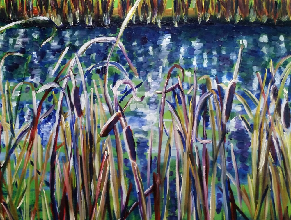 "Through the Reeds, 14""x11"", plen air oil study"