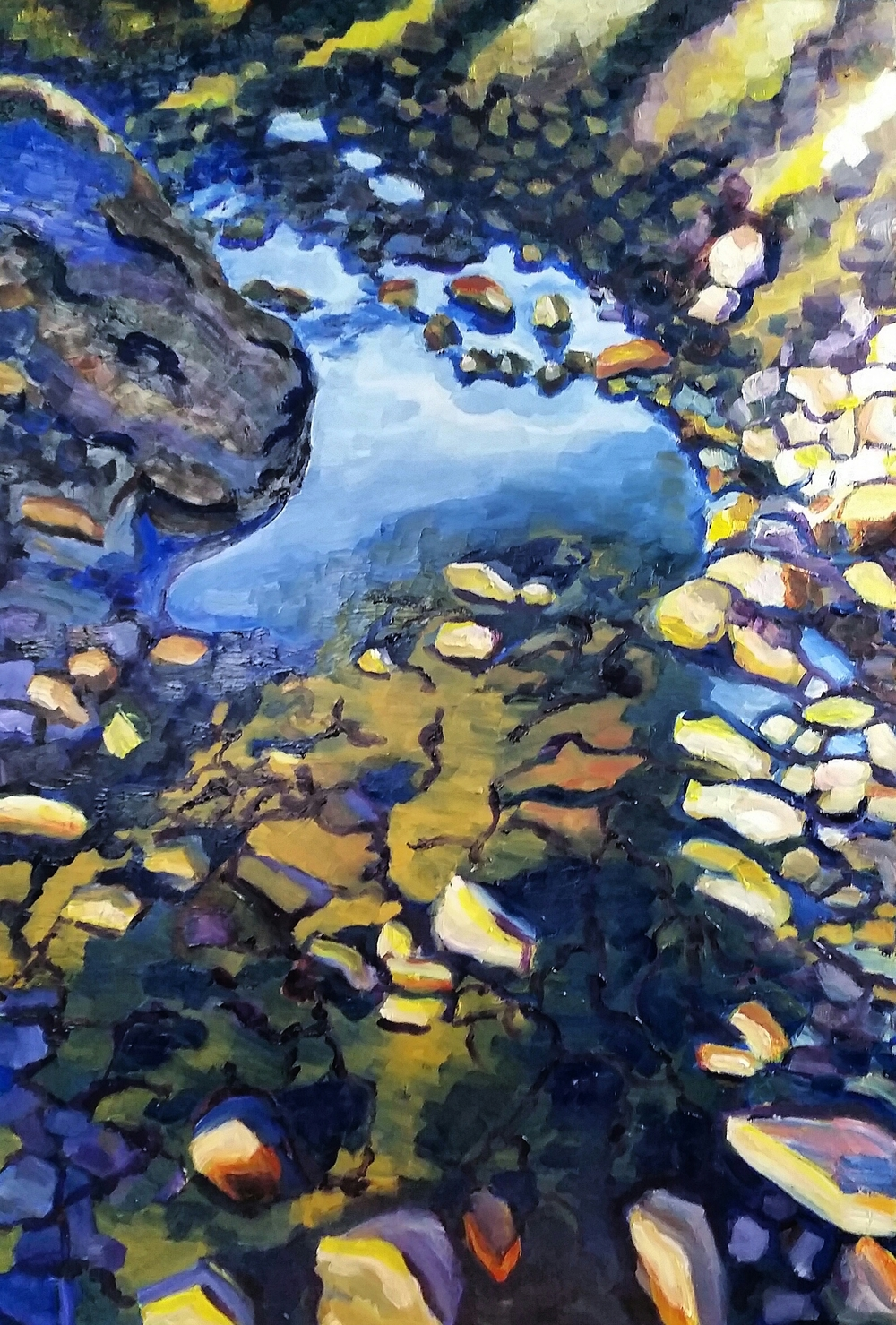 "Creek bed, 24""x36"", 500, Oil on Masonite"