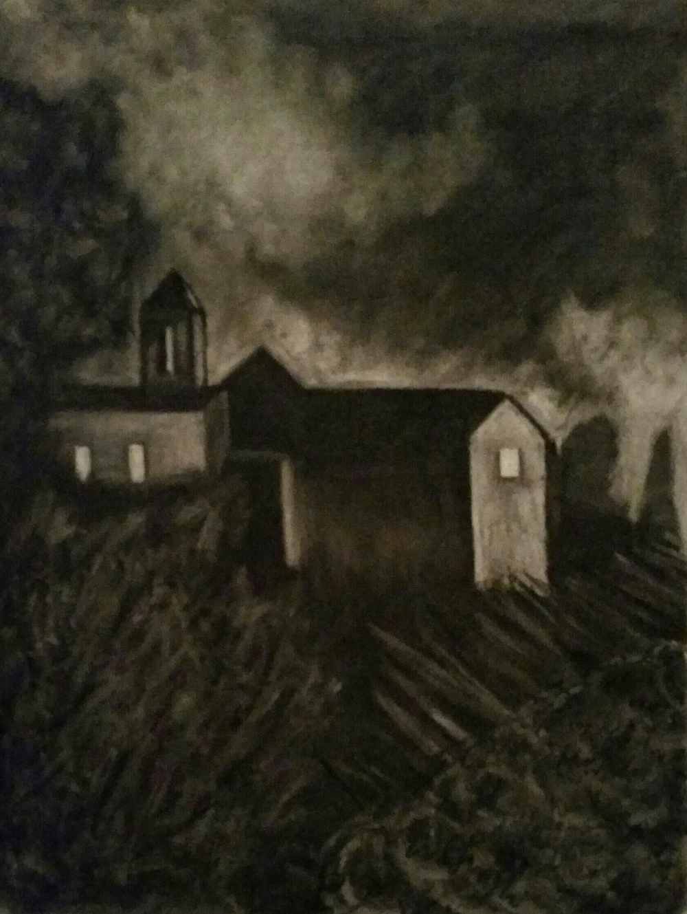 "Montone at Night, 18""x24"", 150, Charcoal study"