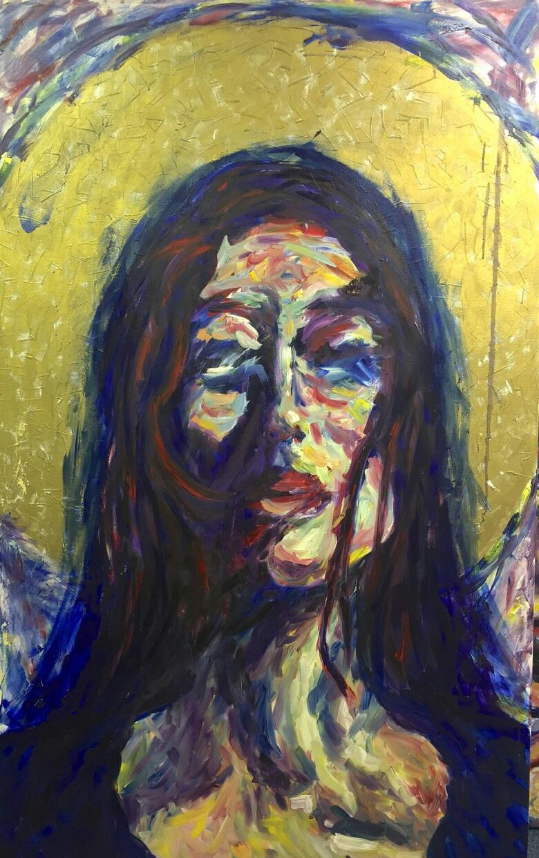 "Mary, 48""x60"", 1200, Oil and gold leaf."