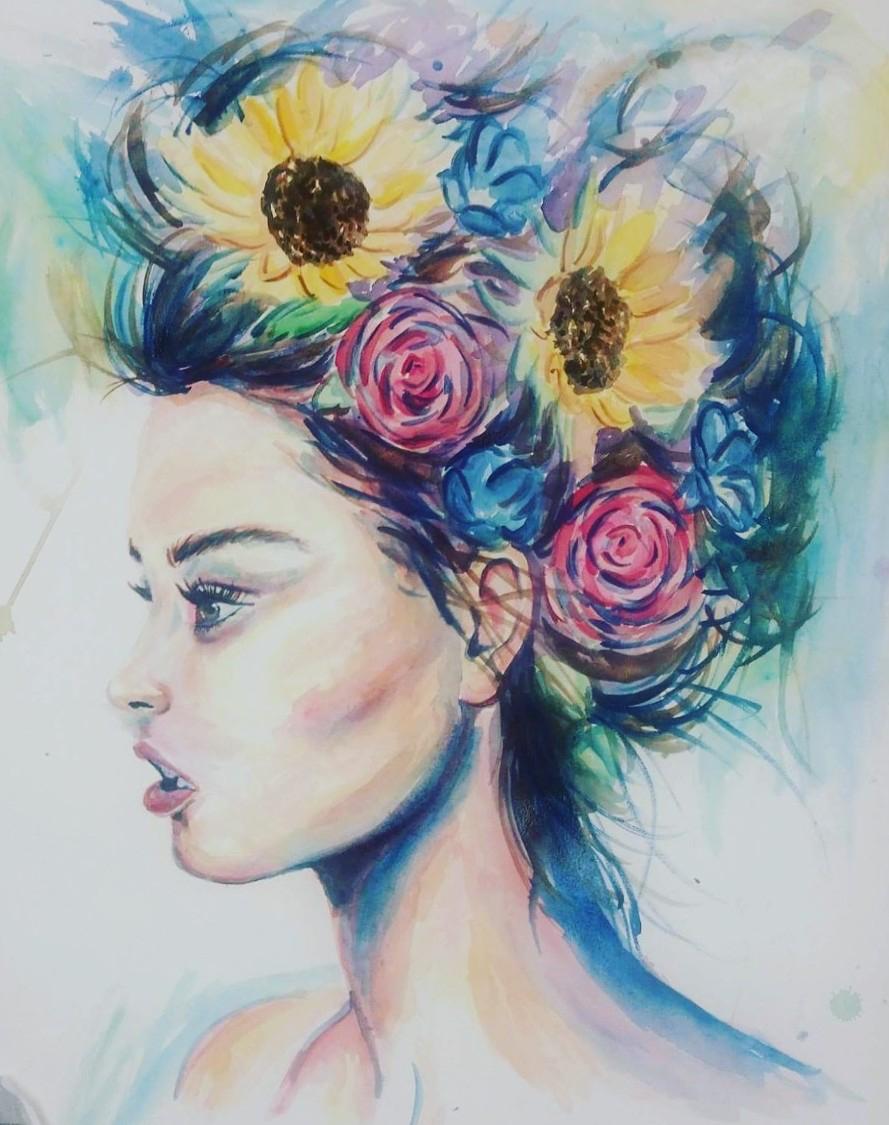 "Flower Bust, 30x32"", Watercolor"