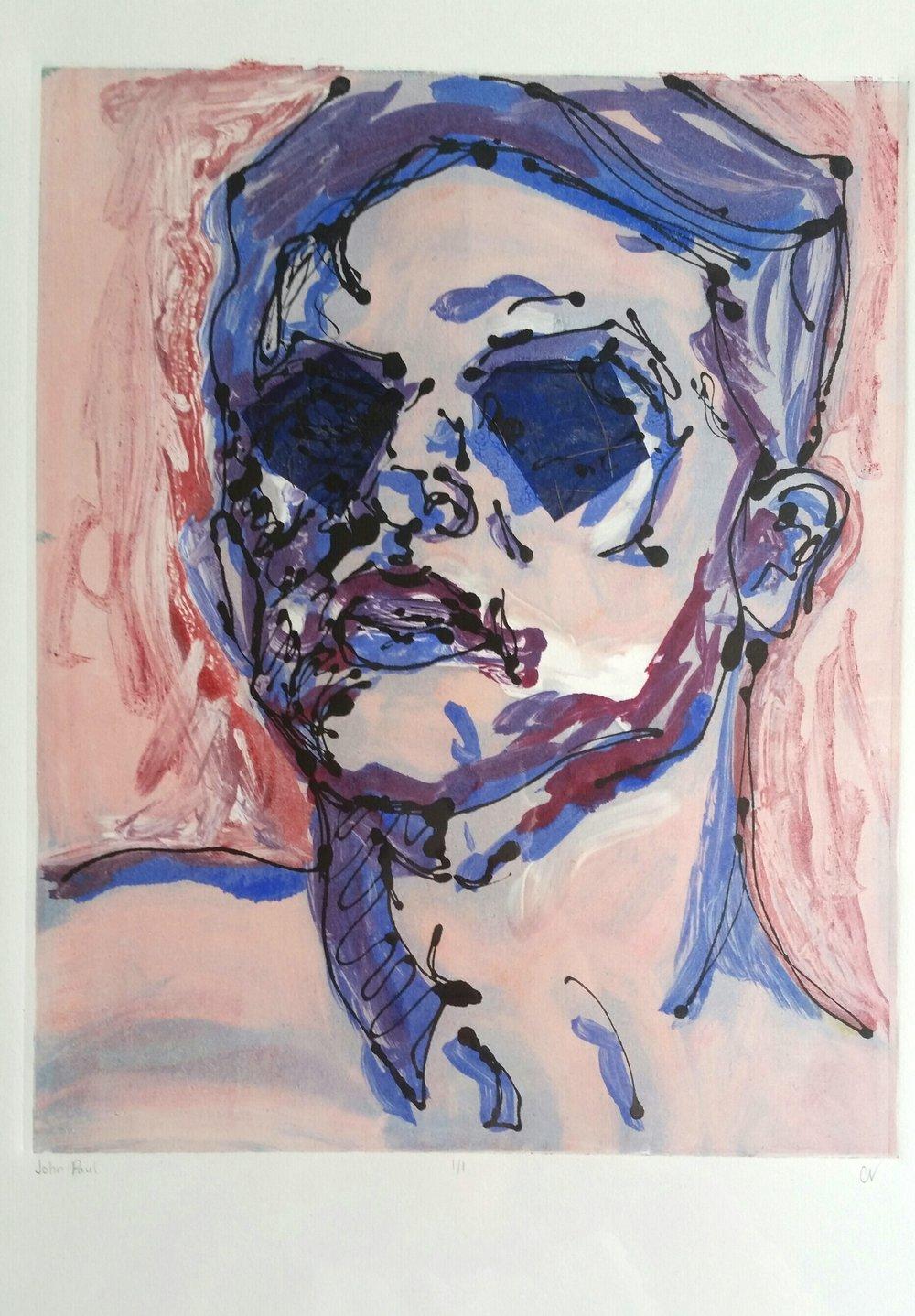 "John Paul, 11x14"", Ink Monoprint"