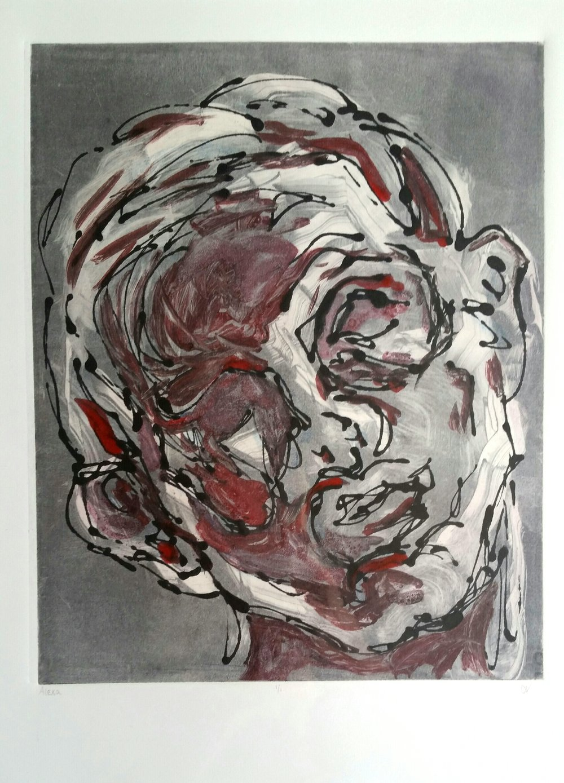 "Alex, 11x14"", Ink Monoprint"
