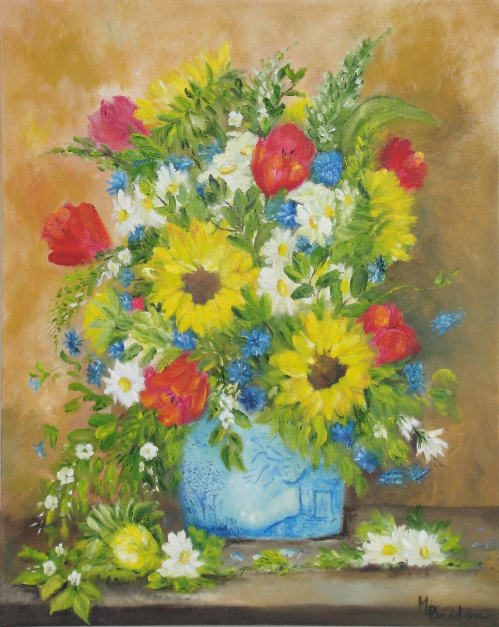 Bouquet in the Blue Willow Vase