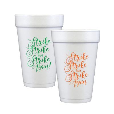 Rattlers always Strike, Strike and Strike Again! Set of 12 White Styrofoam 16 oz. cups.