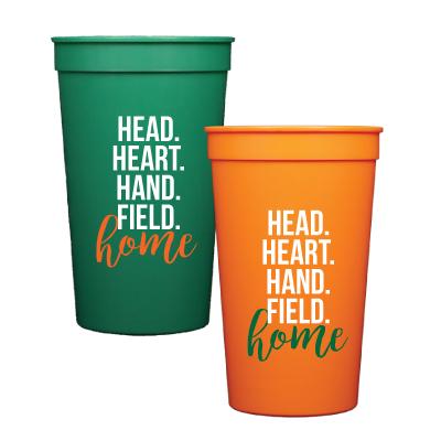 Head, Heart, Hand, Field Home. Set of 6 22 oz. Plastic Stadium Cups. Dishwasher safe.