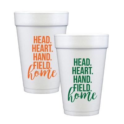 Head, Heart, Hand, Field Home. Set of 12 16 oz. foam Cups.