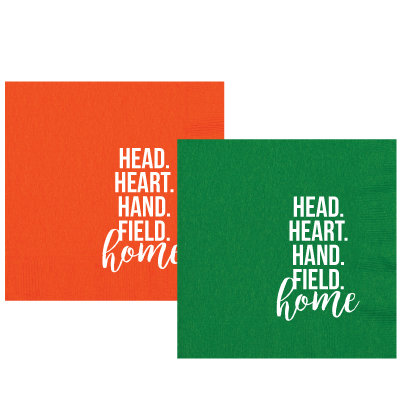 Heart, Head, Hand, Field,Home.Set of 25 luncheon sized napkins. Perfect for tailgating!