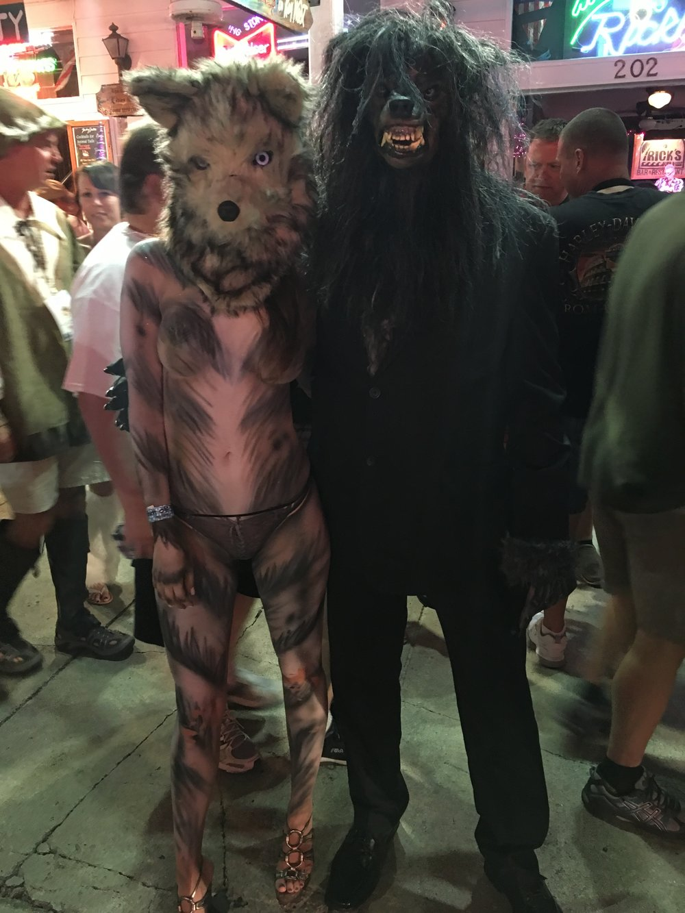 Alessandra Torre in wolf body paint at Fantasy Fest 2016 in Key West - nude with other werewolf