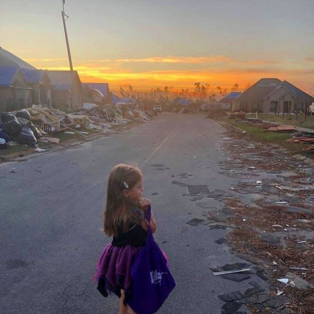 This photo from Panama City is so heartbreaking. #hurricanemichael did so much damage, but the members of this neighborhood still celebrated Halloween. They put chairs out on the street so kids didn't have to go through the debris and gave them all a few hours of brevity and fun. ❤️ Photo credit: Rhonda Towns