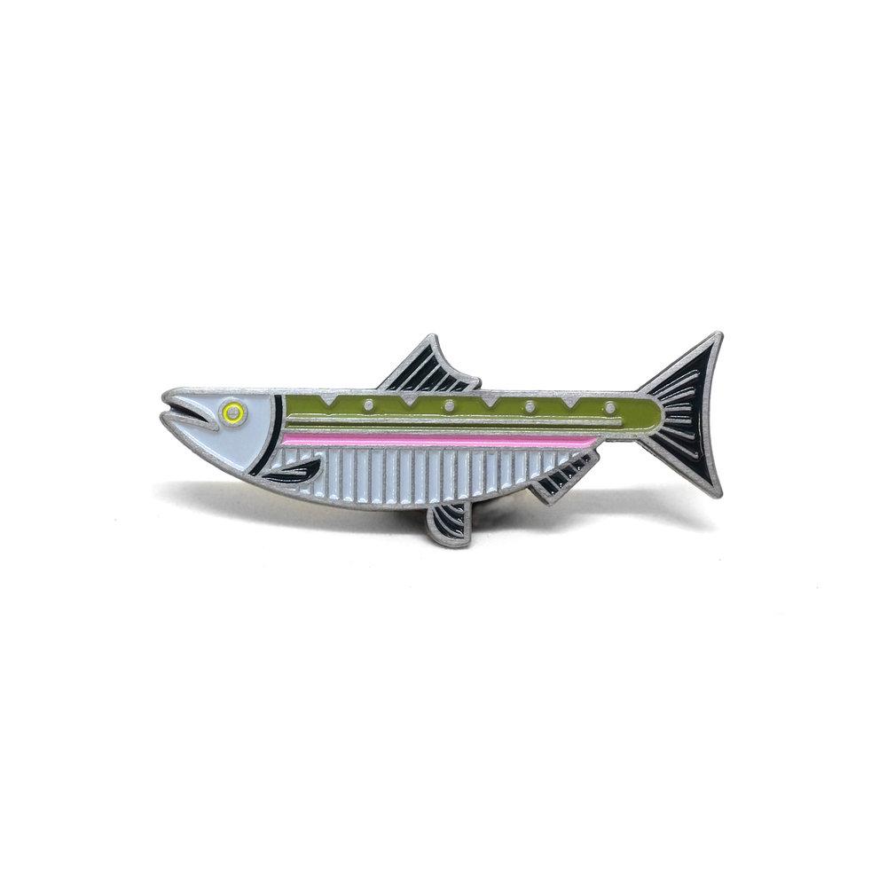 """LLS014 : Steelhead Salmon Soft Enamel Pin 1.75"""" x 0.7"""" $4"""