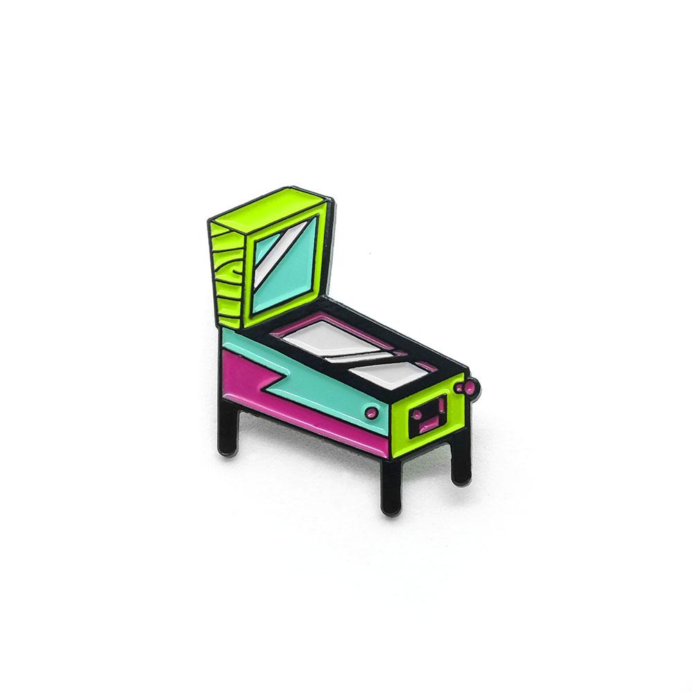 "LLS017-N : Pinball (Neon) Soft Enamel Pin 1.12"" x 1"""