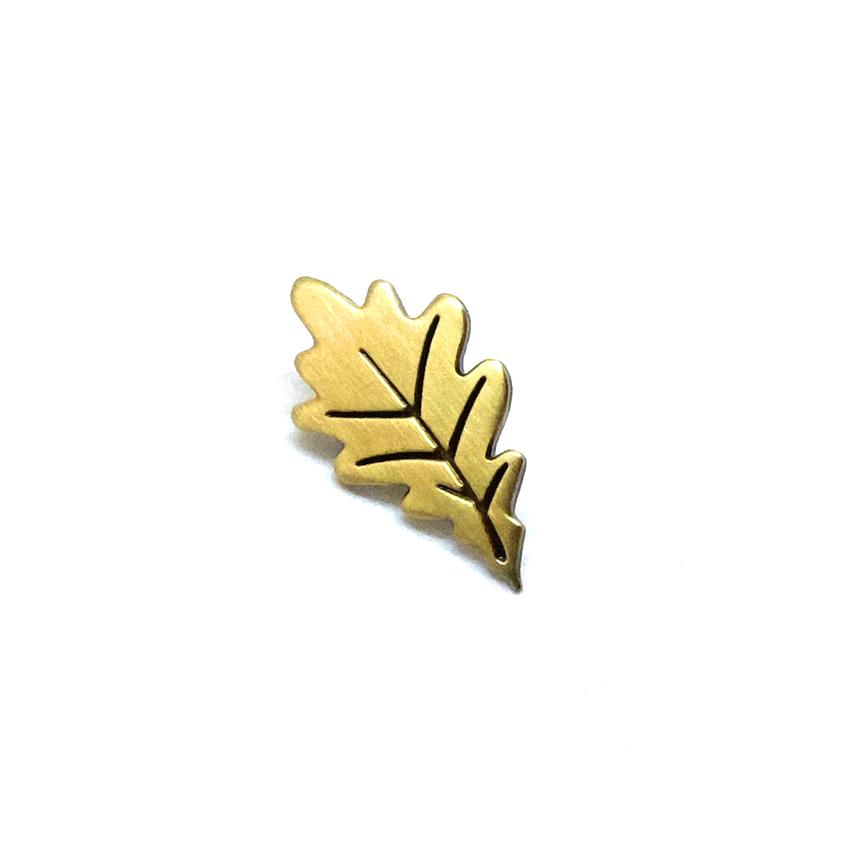 """LLS048 : Gold Leaf Brushed Bronze Pin 0.5"""" x 0.85"""" $4"""