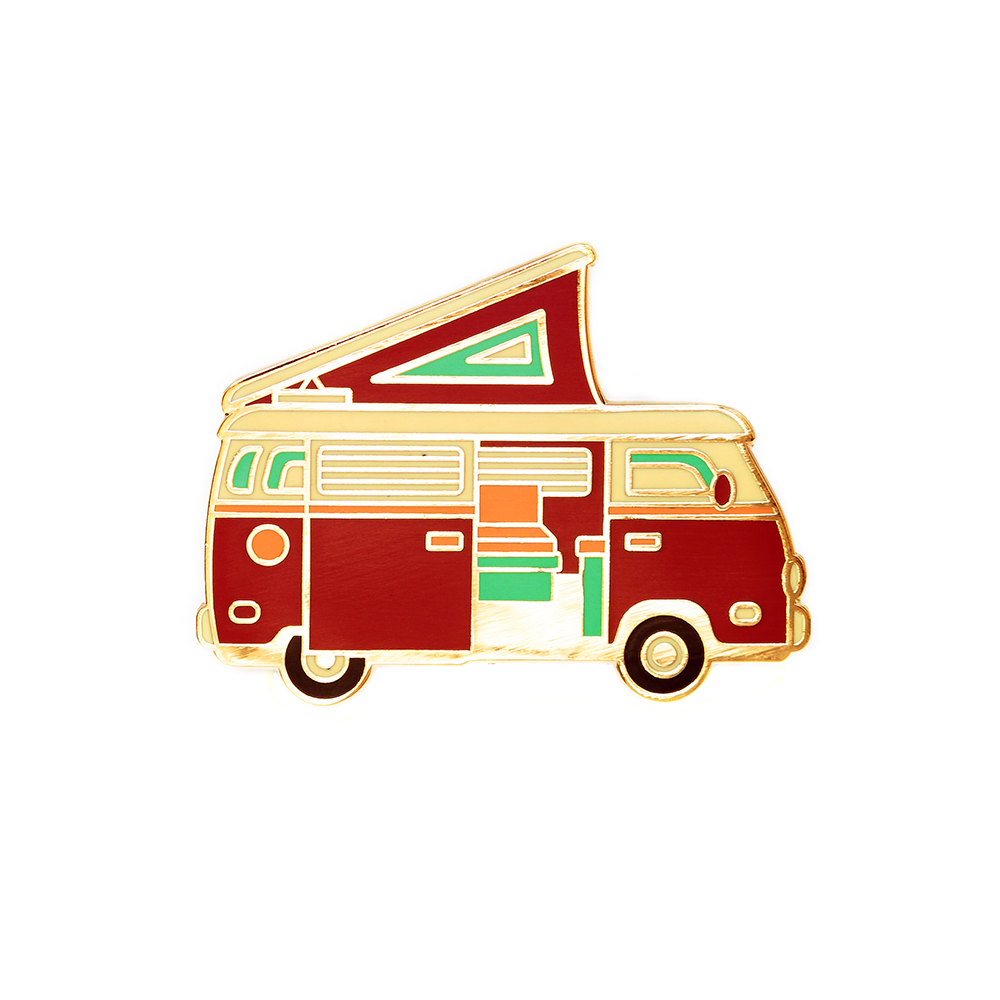 "LLS030-R : Camper Van (Red) Hard Enamel Pin 1.3"" x 1"" $4"