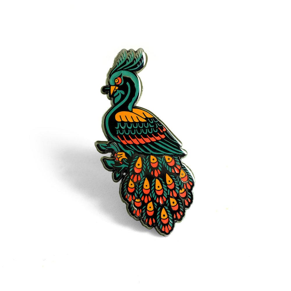 "LLS104 : Peacock Hard enamel pin 0.9"" x 1.6"" $4"