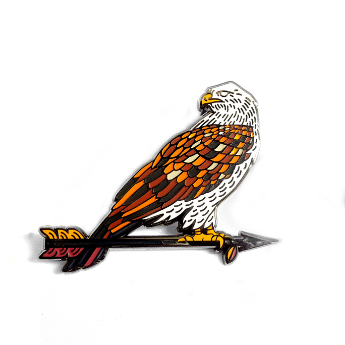 "LLS105-R : Ferruginous Hawk Hard enamel pin 2"" x 2"""