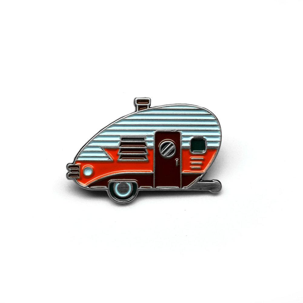 """LLS010-R : Camper (Red) Soft enamel pin 1.1"""" x 0.75"""""""