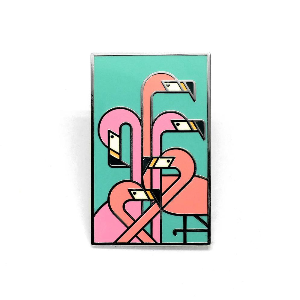 """LLS132 : Flamingos Hard enamel pin 1.15"""" x 1.85"""" $4"""