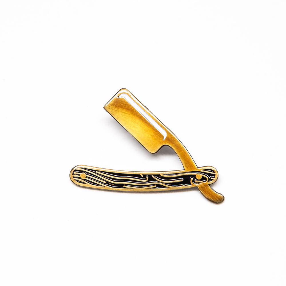 "LLS019 : Straight Razor Soft enamel pin 1.4"" x 1"" $4"