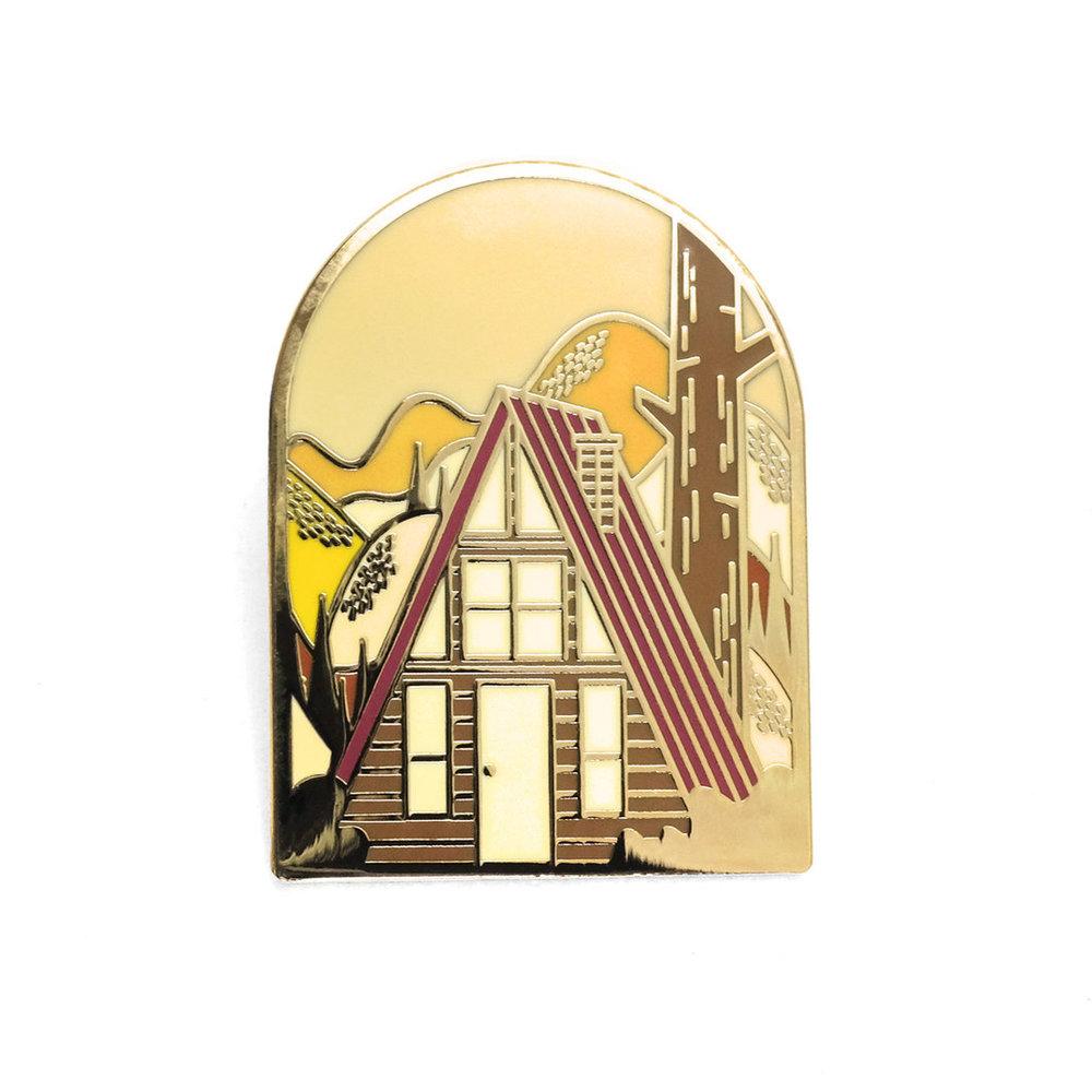 """LLS133 : Autumn A-Frame Hard enamel pin 1.35"""" x 1.8"""" $4"""