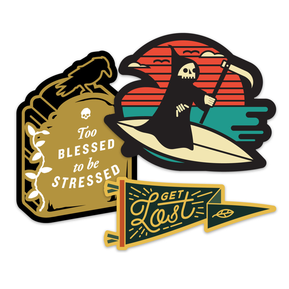 """LLS149 : Lost Lust Sticker Pack 3x 4"""" vinyl stickers Ships in retail hang bag 