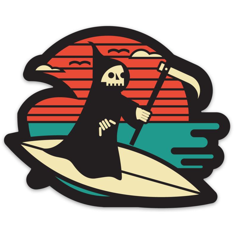 "LLS002-S : Life's A Beach Vinyl sticker 4"" x 3.22"" |  $2 Minimum: 5"