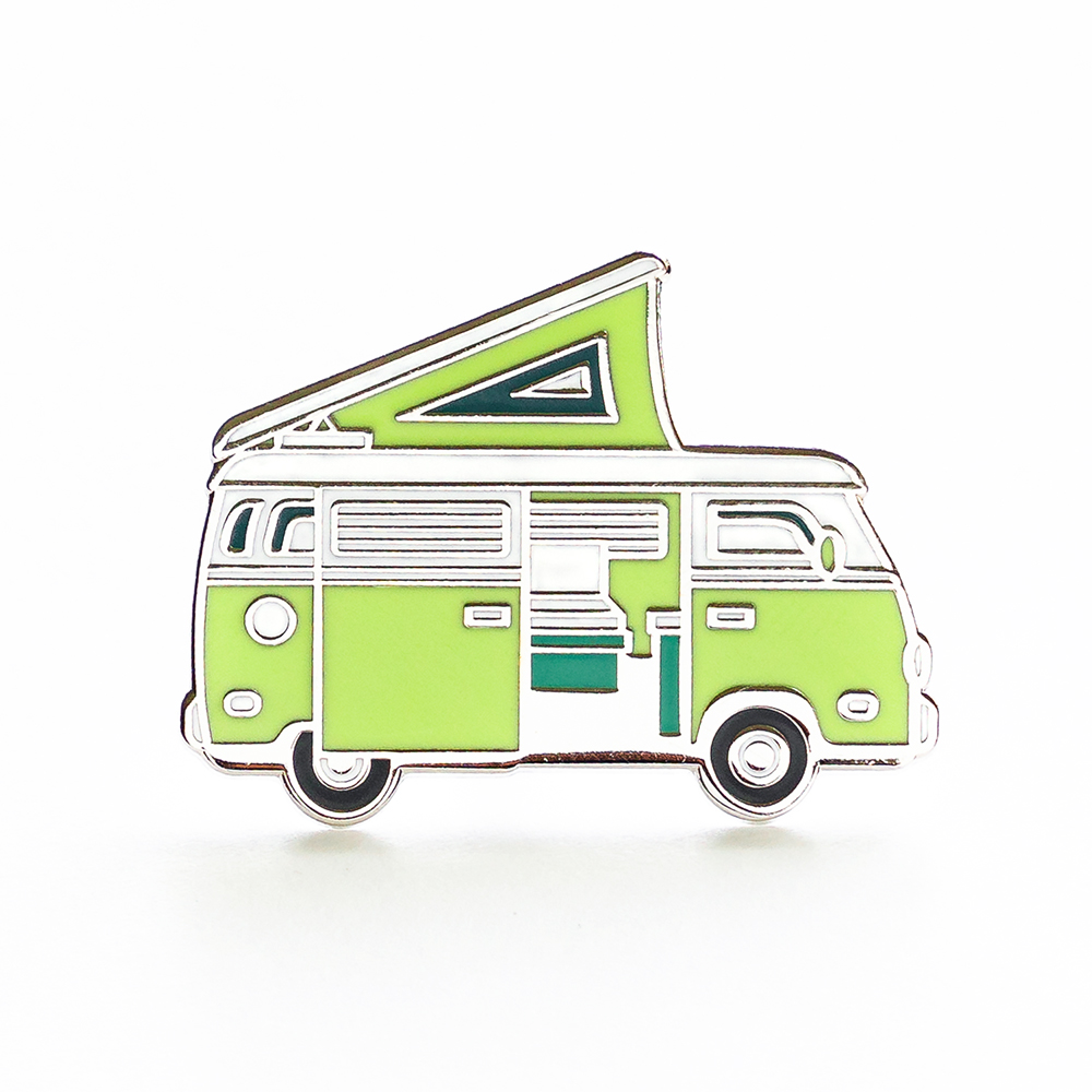 """LLS030-G : Camper Van (Green) Hard enamel pin 1.3"""" x 1"""" $4"""