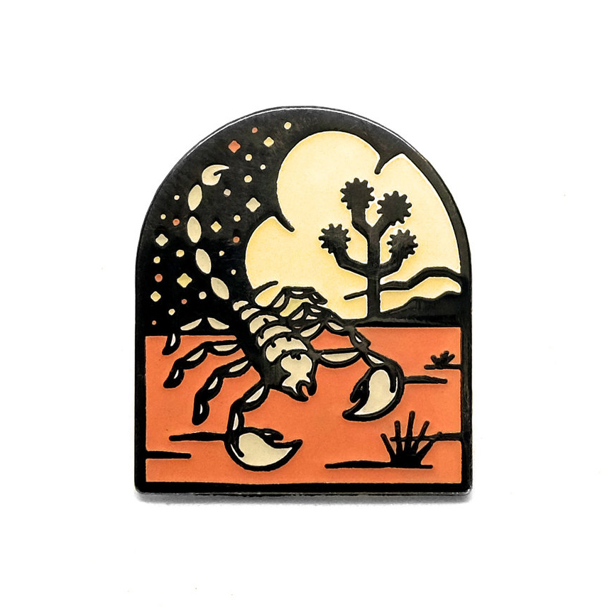 "LLS186 : Desert Scorpion Glow in the dark hard enamel pin 1"" x 1.3"" $4"