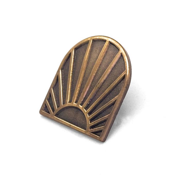 "LLS189 : Synthesis Sunrise Logo Cast bronze pin 0.7"" x 0.8"" $4"