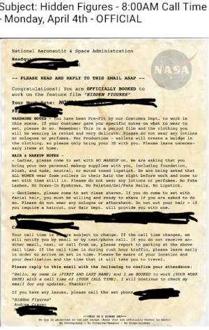 Hidden Figures Acceptance Letter