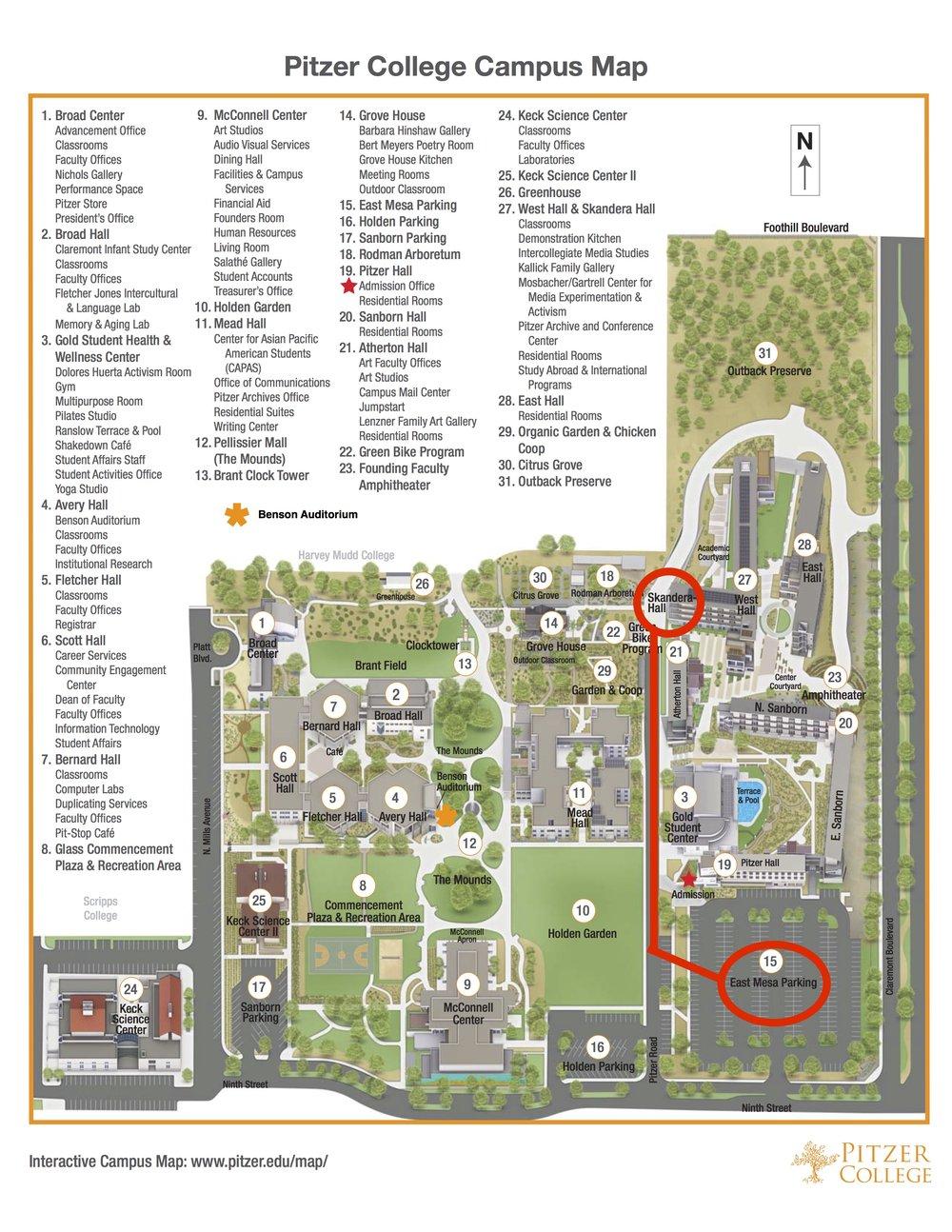 Claremont Colleges Campus Map.Pitzer College Pdf Map Los Angeles Suzuki Institute Chamber