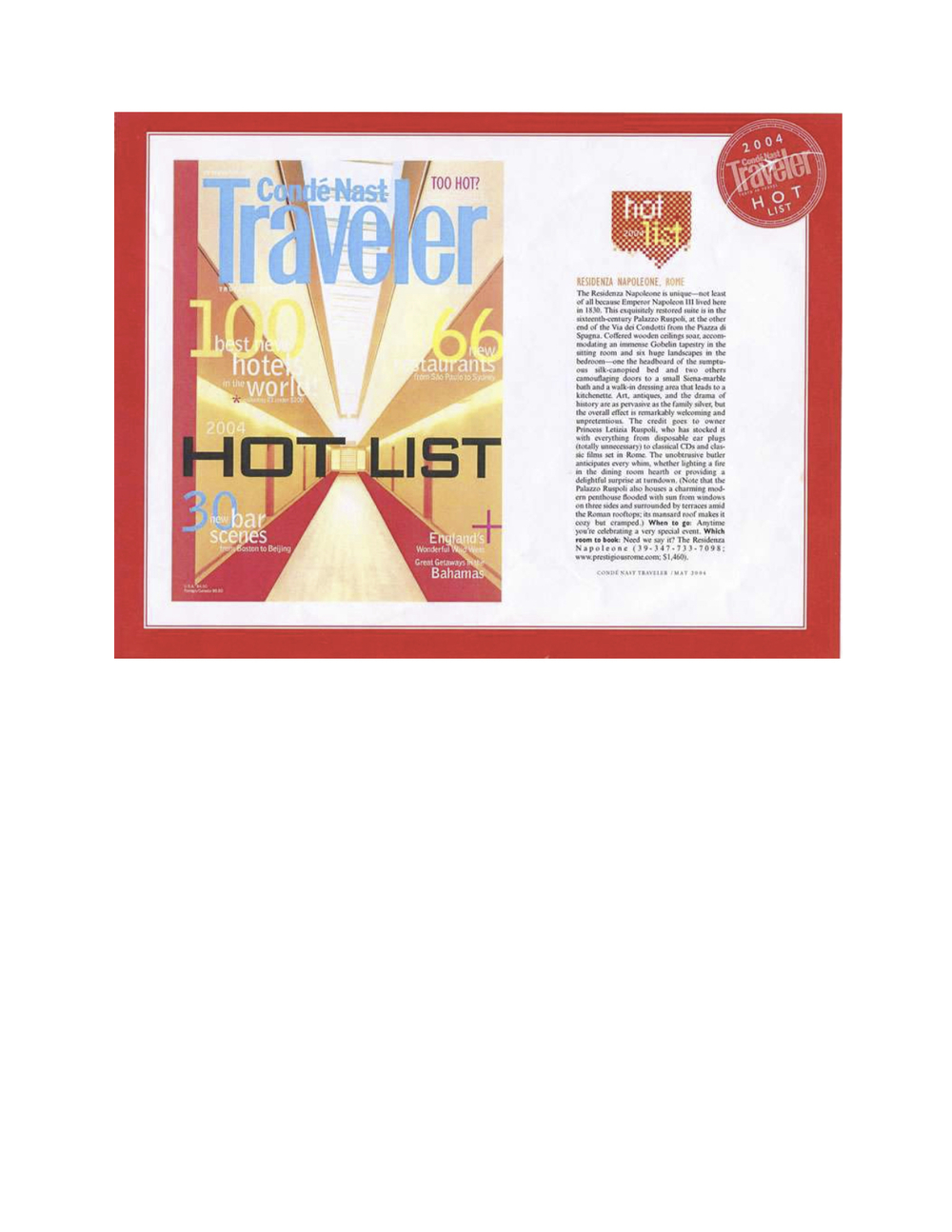 Conde Nast Traveller's Hot List