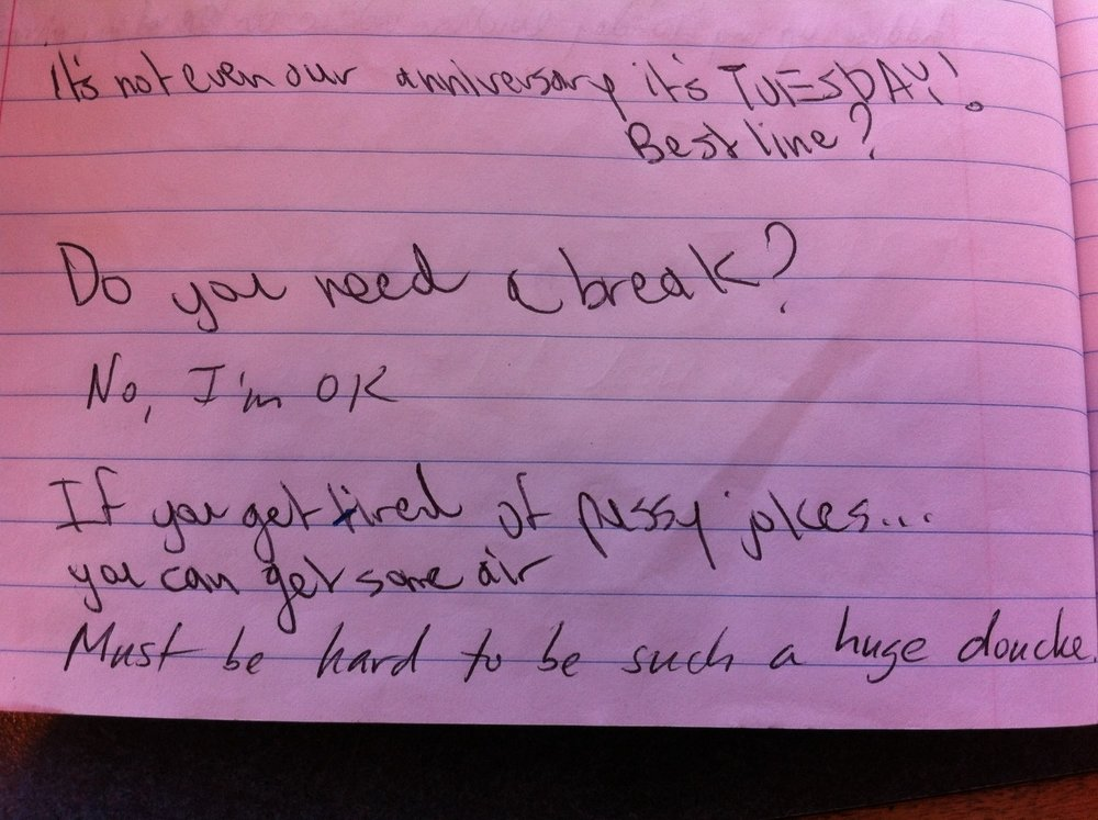 Back and forth notes with my unfortunate girlfriend, while sitting through an open mic at The Lexington.