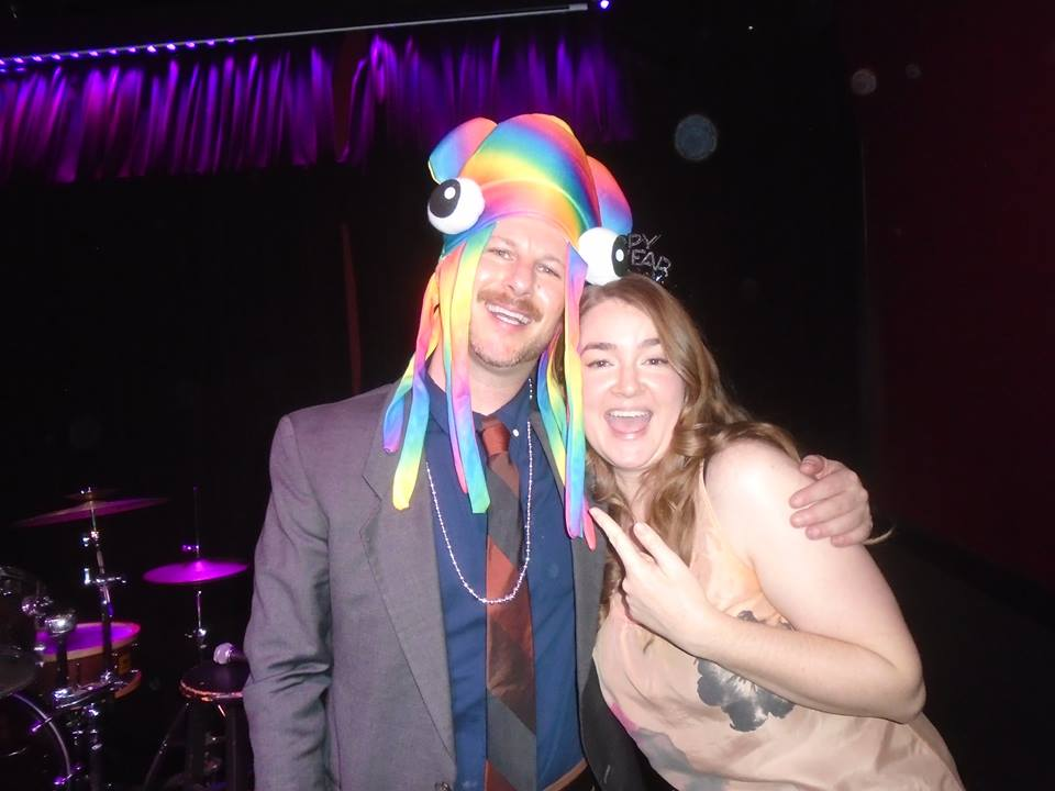 Jamie Flam, artistic director at The Hollywood Improv, closing out 2015 with Claire at the VanJam. He proudly wore the ridiculous squid hat that she brought from the aquarium.