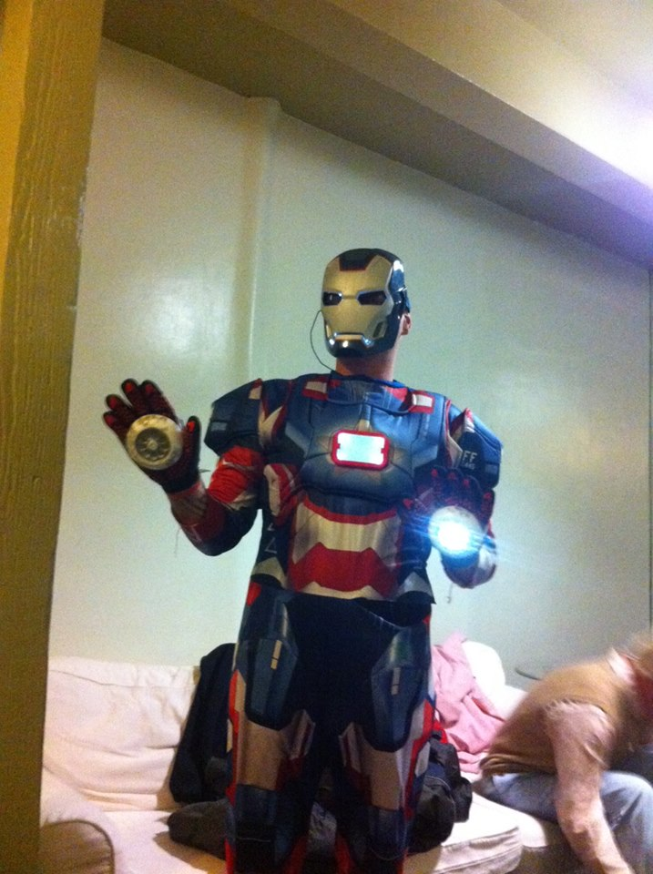 Ian as the Iron Patriot.
