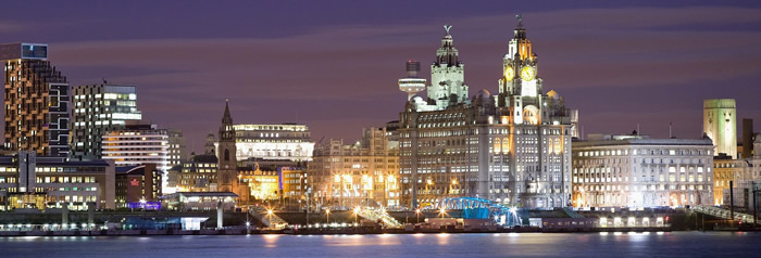 Liverpool skyline at night