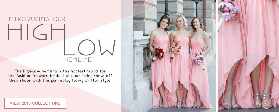 The high-low hemline is the hottest trend for the fashion-forward bride.  Let your maids show-off their shoes with this perfectly flowy chiffon style