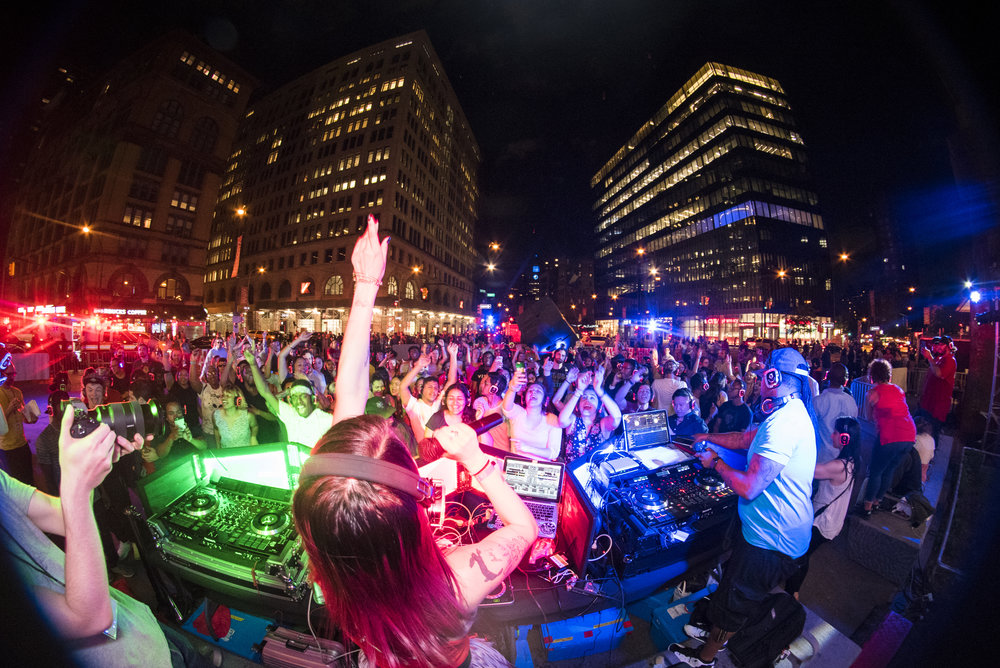 Hundreds dance to the pumping beats of three DJ's at the Astor Blaster Silent Disco, featuring Blue Man Group. Photo: Bernadeta Serafin