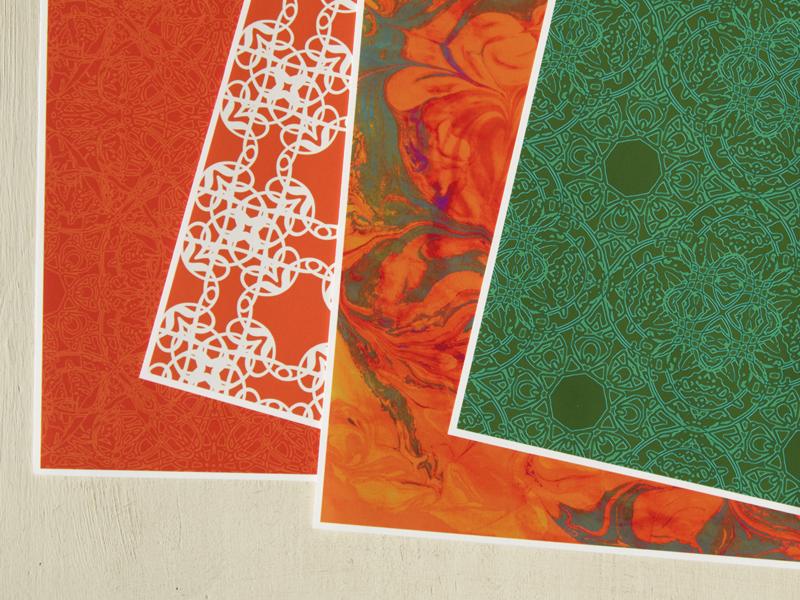 STUDIO milledisegni decorative paper patterns - orange + aqua