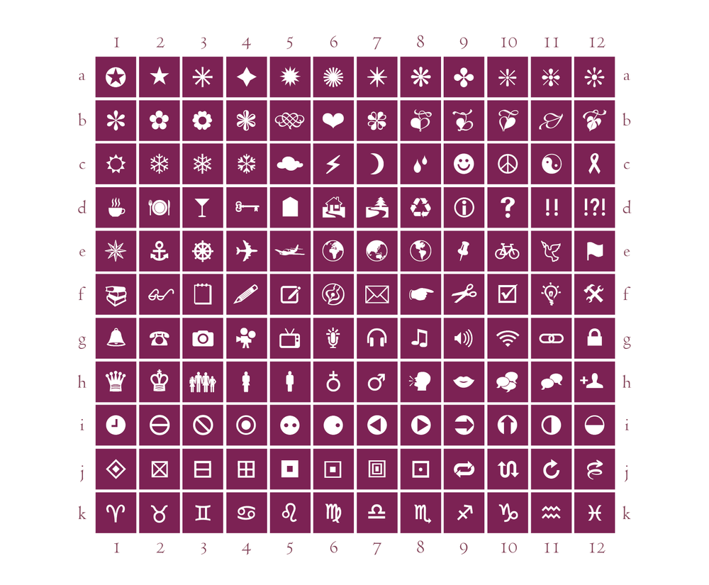 studio milledisegni Simply Put Symbol Chart