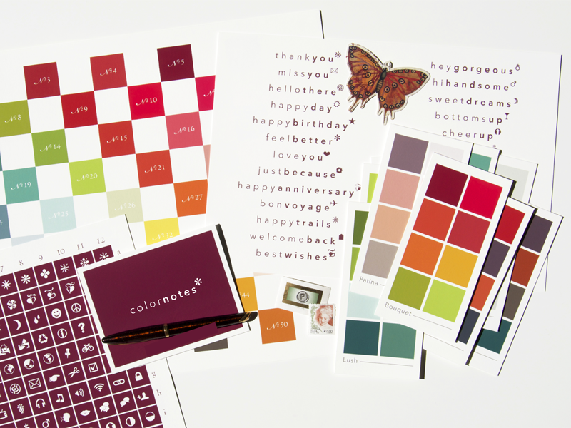studio milledisegni colornotes stationery set color charts