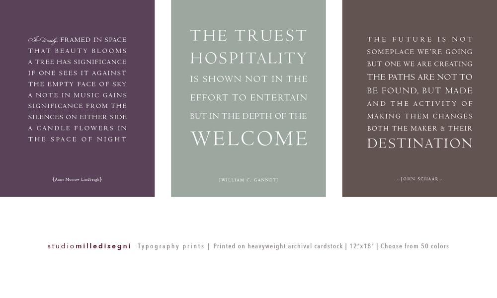 studio milledisegni typography quote prints