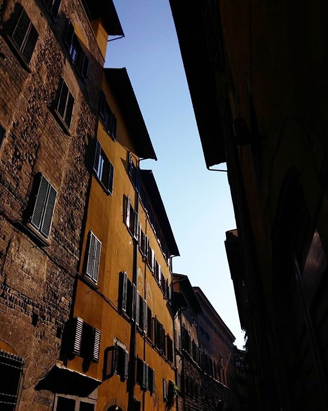 Slice of sky | I always enjoy the interesting shapes created by the rooflines on the narrowest of Florence's streets. This is another moment of intense light along Via dei Bardi—pointing the camera up to the sky made the values even richer. ▪ #viadeibardi #firenze #morningwalk #lookingup #sliceofsky #lightandshadow #texture #morninglight #stone #building #renaissance #architecture #rooflines #florentinebeauty #windows #florentinepalette #builttolast #florence