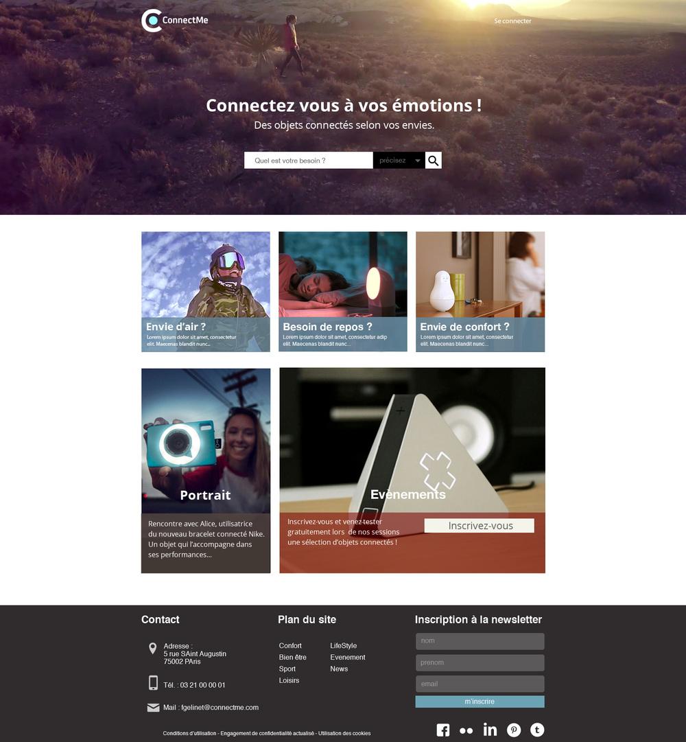ConnectMe, site d'objets connectés  ,  la page d'index