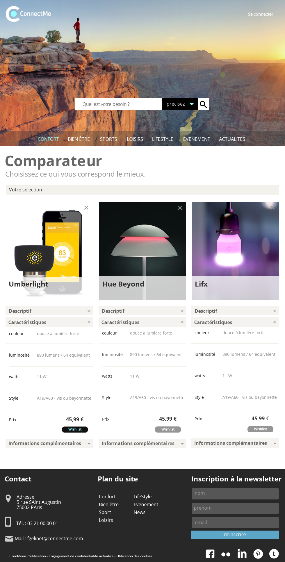 ConnectMe, site d'objets connectés  ,  la page dédiée aux comparatif