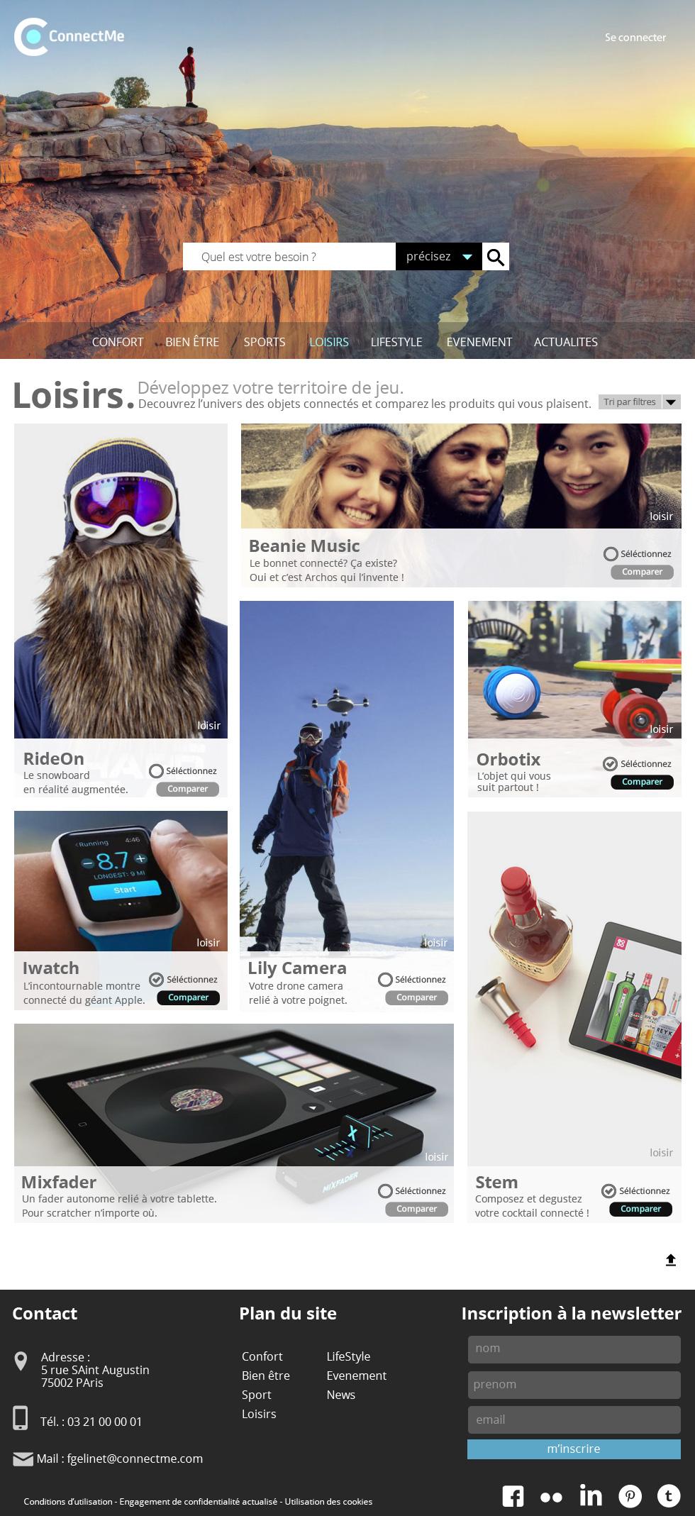 ConnectMe, site d'objets connectés  ,  la page dédiée aux loisirs