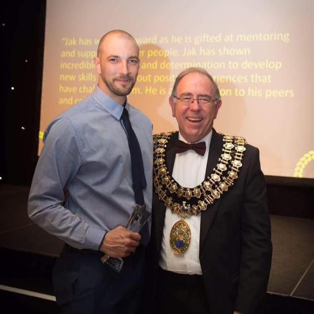 H3 Trustee Jak winning Volunteer Star Award at the Stockport Homes Awards