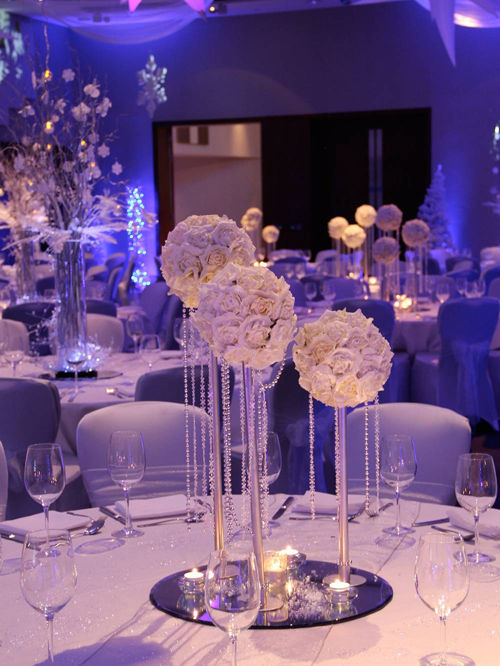 Winter wonderland theme venue dressing at Hilton Hotel Liverpool