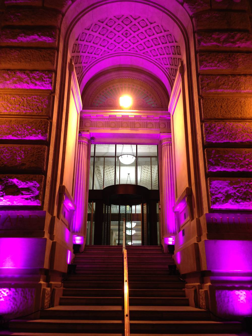 Lighting at the entrance of a fashion show at Cunard Building Liverpool
